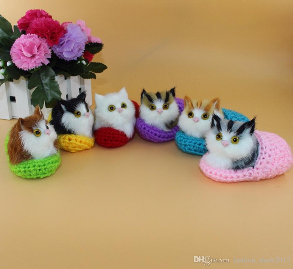 Super Bonito Simulação Soando Sapato Gatinhos Gatos Brinquedos de Pelúcia Crianças Apaziguar Boneca Enviar Sua Namorada Presentes de Aniversário de Natal