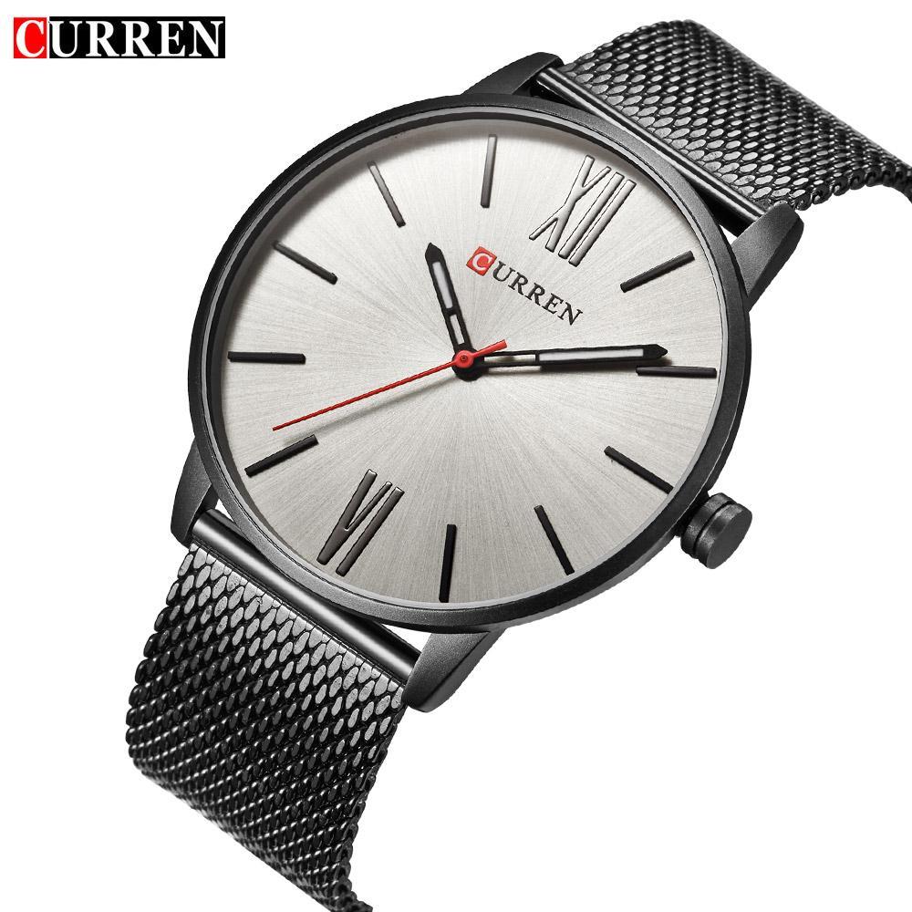 a8fc07d0ce85 Compre CURREN Reloj De Pulsera De Hombre De Negocios Casual De Negocios Relojes  Ultrafinos De Cuarzo Impermeable Reloj Masculino De Acero Completo Dial  Gris ...