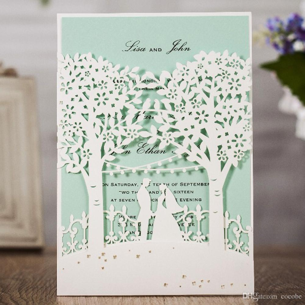 WISHMADE New Arrival White And Blue Invitation Cards With Laser Cut ...