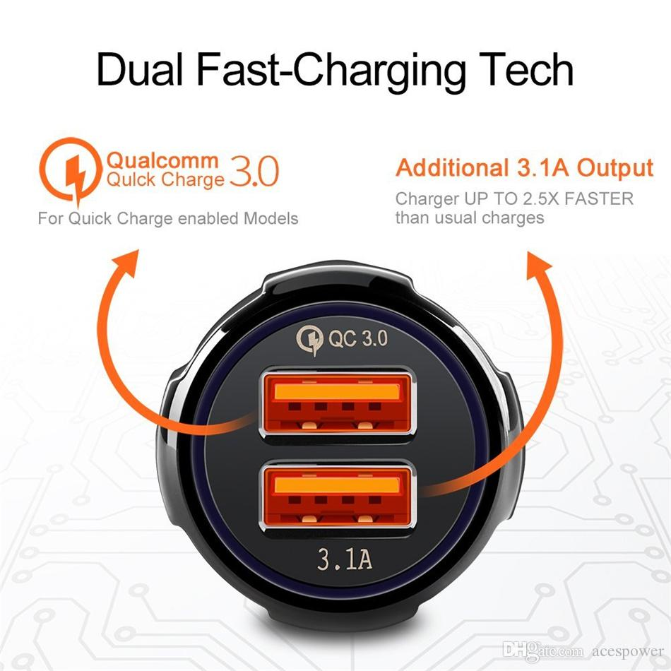 Carregador de carro Charge rápido 3.1a Qualcomm Quick Dual USB Phone Carregadores 9V 2A 12V 1.2A QC3.0