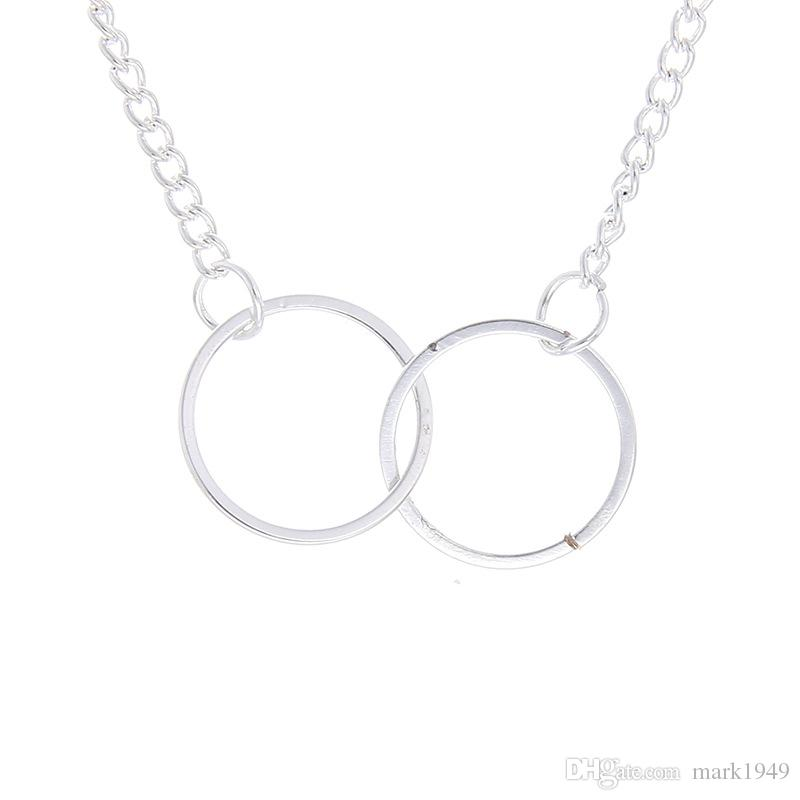 Fashion New Circle Alloy Pendant Necklace With Card Gold Silver Double Circles Necklaces Jewelry Holiday Gifts