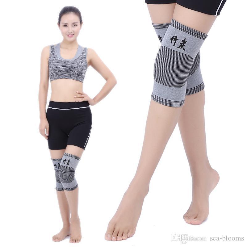 Bamboo Charcoal Knee Wrap Kneecap Sport Gym Leggings Bamboo Charcoal Leg Adelgaza la rodilla Brace Protector Protector Pads gratis DHL G905Q