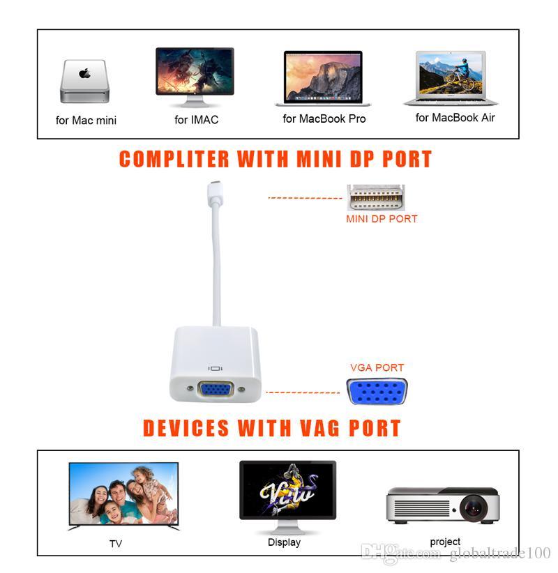 Mini DisplayPort Ekran Portu Mini DP VGA Kablo Adaptörü Mini Thunderbolt Dönüştürücü Kablosu 1080 P Apple MacBook Hava Pro iMac Mac Için