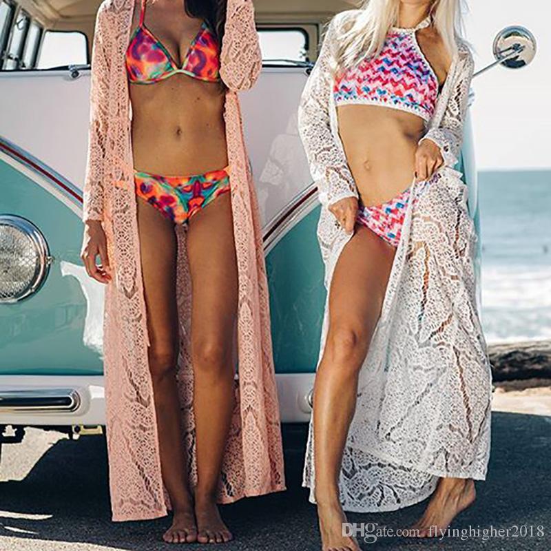 해변 커버 여성 레이스 크로 셰 뜨개질 비키니 롱 커버 Up Pareos Para playa 비치 튜닉 Robe de Plag 수영복 커버 업