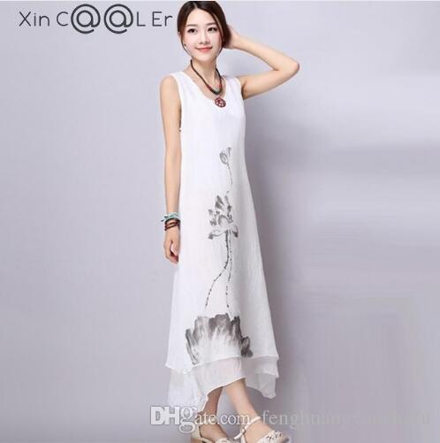 aee0c5d3c75 Beautiful 2018New Summer Cotton Linen Women Dresses Ink Art Print Loose  Casual A Line Designs O Neck Plus Size Thin Long Dress Women Summer Dresses  White ...