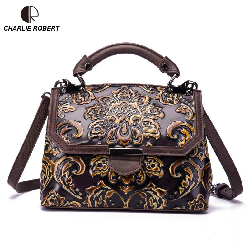 13b7ff8234 2018 New Fashion Trend Single Shoulder Vintage Embossed National Oblique  Across Cow Leather Female Lady Women Shoulder Bags Designer Purses Satchel  Bags ...