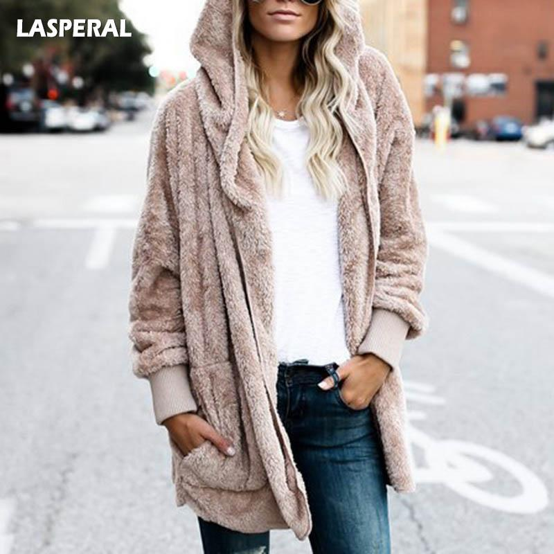 757479c90 LASPERAL New Year Spring Faux Fur Teddy Bear Coat Jacket Women Fashion Open  Stitch Hooded Coat Female Long Sleeve Fuzzy Jacket Biker Leather Jackets  Womens ...