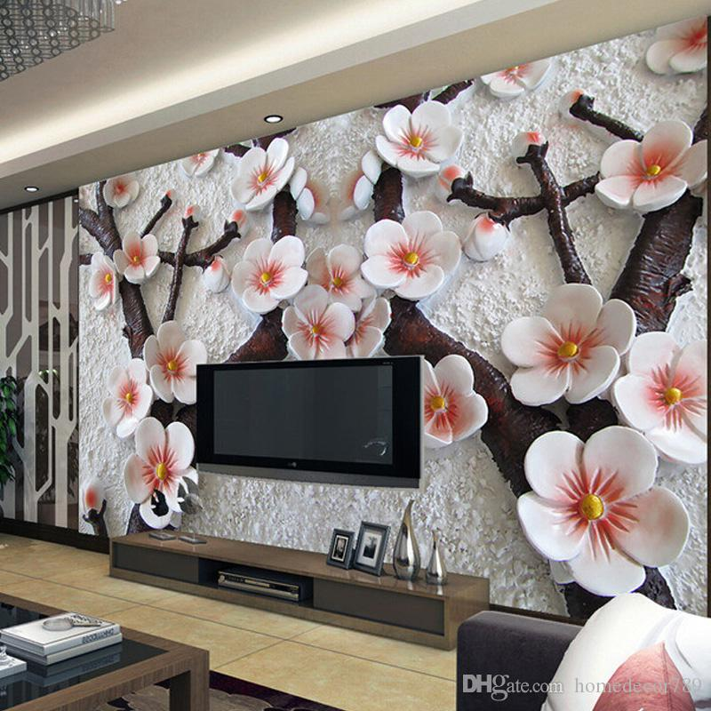 High Quality Custom 3d Photo Wallpaper Wall Mural Modern Art Wall Painting 3D Stereo Relief Plum Flower Photo Wallpaper Living Room