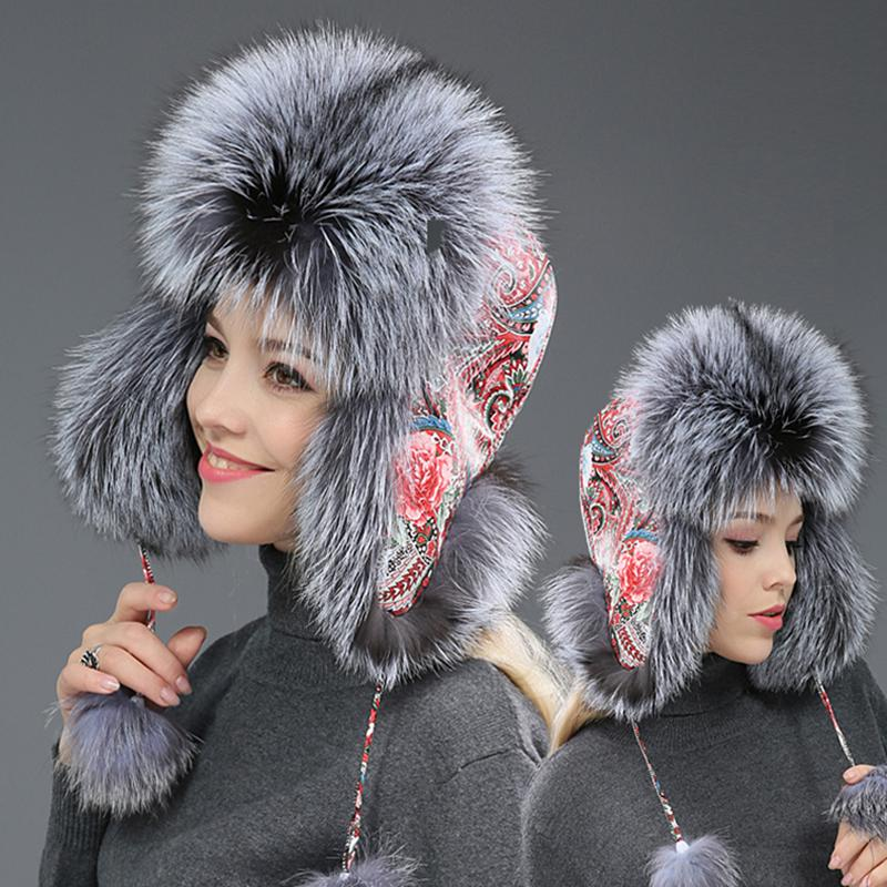 7000eb22a48dc Winter Women Bomber Hats Thick Real Fur Fluffy Hats Warm Skiing Cap ...