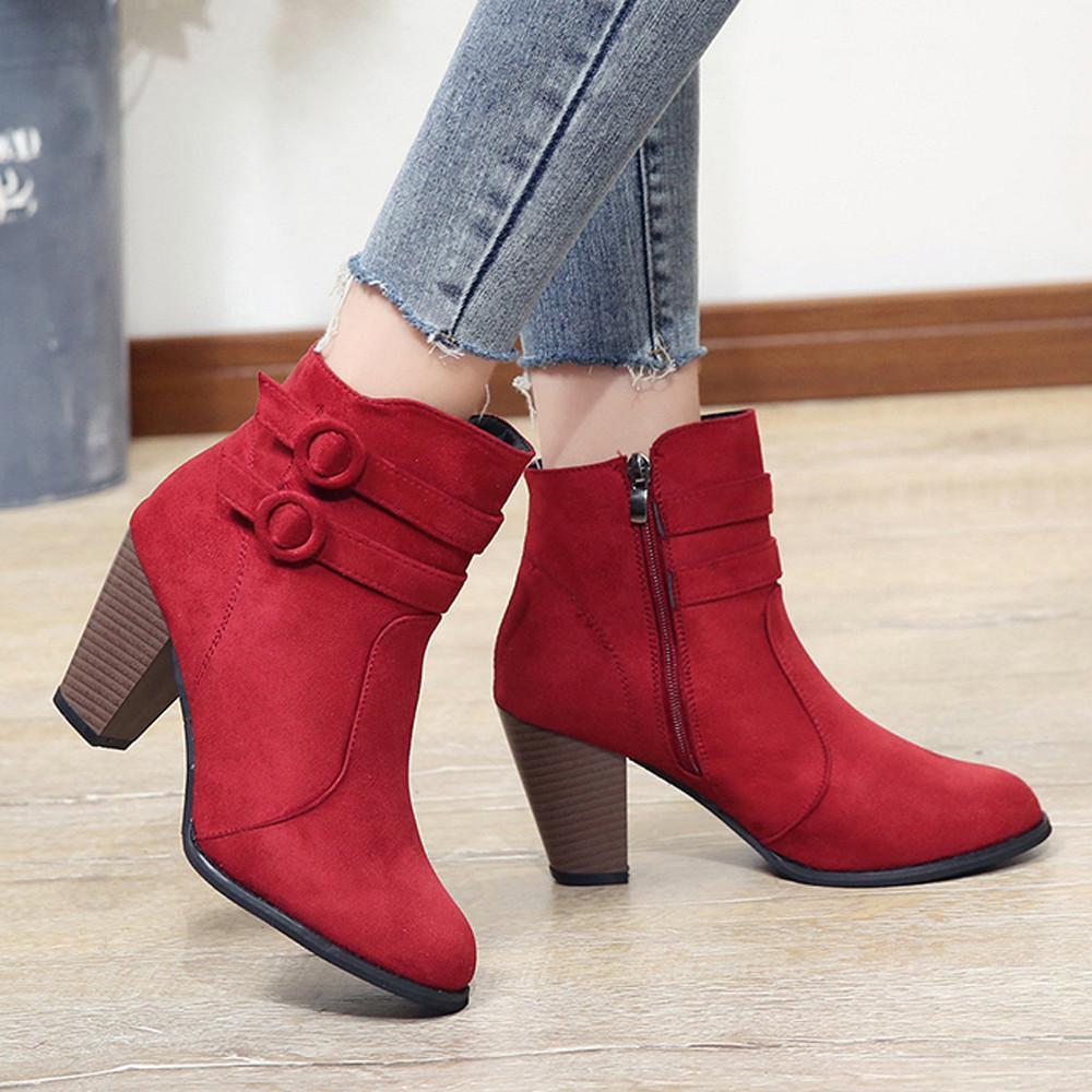 Compre Botas Rojas Para Mujer 2018 Botines Para Mujer Zapatos De Tacón Alto  De Otoño Botas Con Cremallera Para Mujer Tamaño 43 Botas Mujer A  37.68 Del  ... 5137c05249d2a