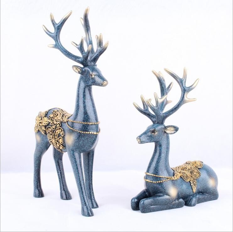 Luxury Art Crafts Christmas Polyresin Deer Deer Statue Animal Figure Continental/Resin Ornaments/Crafts Deer Gift for Friends