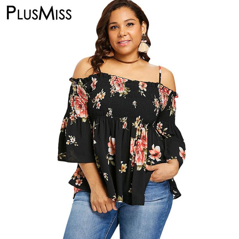 1d43215dfcf47 2019 PlusMiss Plus Size 5XL XXXXL XXXL Floral Flower Print Off Shoulder  Smocked Blouse Women Bell Flare Sleeve Loose Tops Big Size From Redbud01