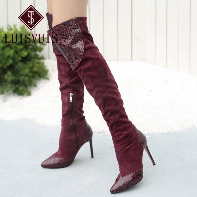 KemeKiss Plus Size 33-46 Women High Heel Boots Patchwork Pointed Toe ... 8cde0dd6f82b