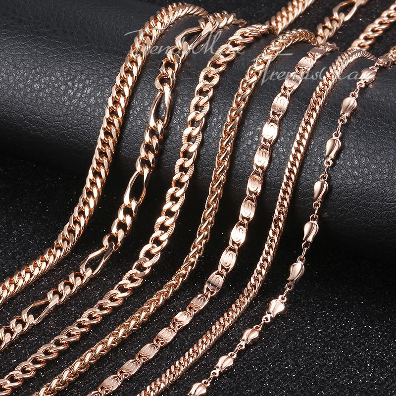0974713c449b6 Womens Necklace Bismark Chain 585 Rose Gold Filled Necklace Hammered Curb  Cuban Rombo Link 3/4/4.5/5mm GNM01