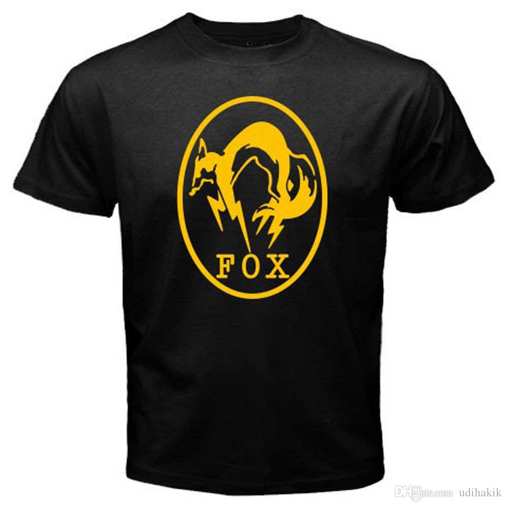 New FOX HOUND Logo Metal Gear Solid Special Force Men's Black T-Shirt Size S-3XL