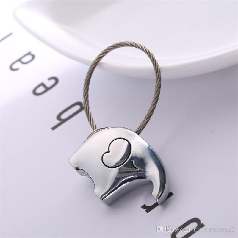 Creative couple elephants key chain Lovers gift bag pendant key ring Trinket car keychain innovative items