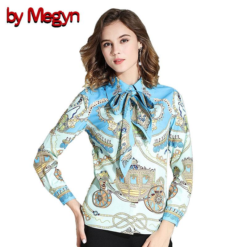 2fbc3a976eb02 by Megyn 2018 Spring Summer Women Floral Printed Bow Casual Fashion Shirts  Blouses Long Sleeve Tops And Blouses Chemise Femme Blouses   Shirts Cheap  Blouses ...