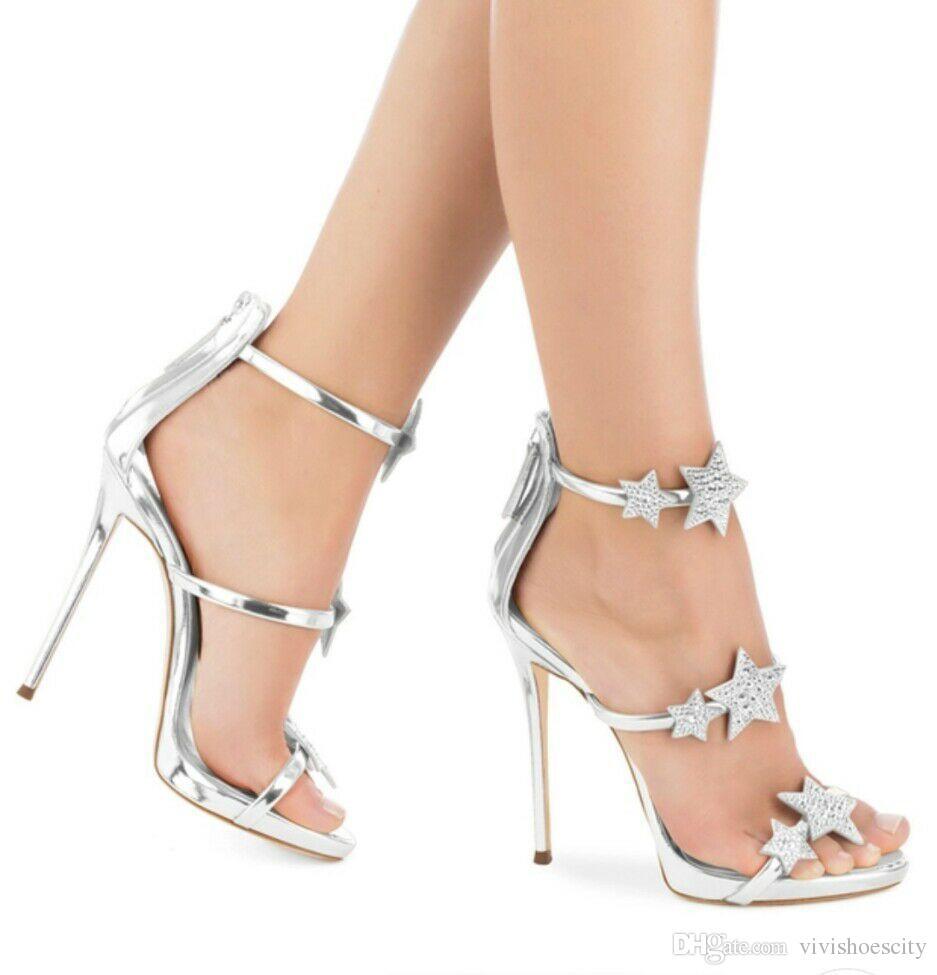 Star Rhinestone Silver Wedding Shoes Rhinestone High Heels Ladies ... b56ccedc57cb