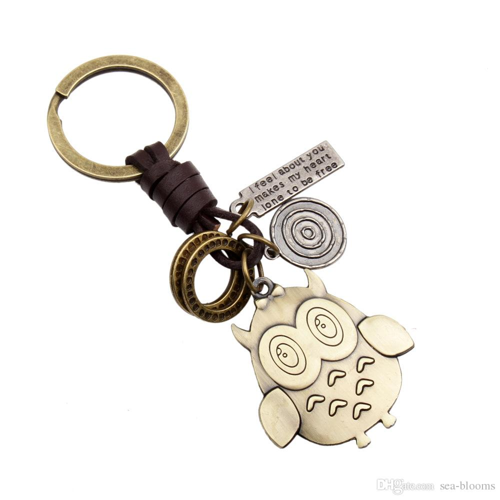 11 Styles Keychains Leather keychain Charm Pendant Keychain Antique Bronze Owl Wing Pendant Key Ring Unisex Free DHL D392Q