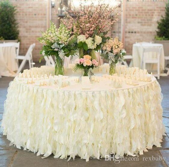 2018 NEW Romantic Ruffles Table Skirt Handmade Wedding Table Decorations Custom Made Ivory White Organza Cake Table Cloth Ruffles
