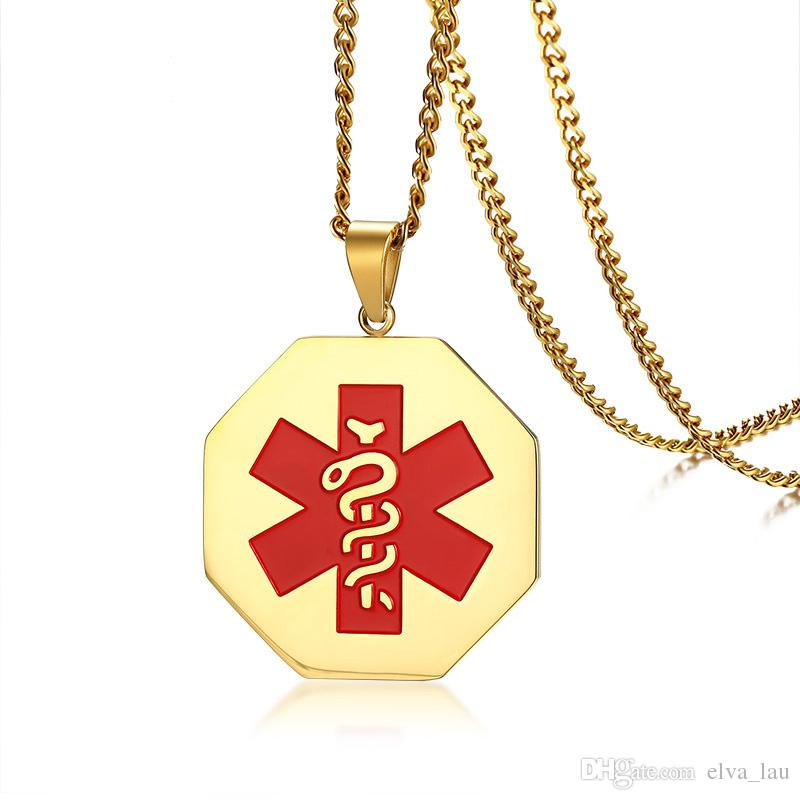 "Hexagon Medical Alert ID Pendant For Men Women Necklace Stainless Steel Emergency Male Jewelry 24"" Chain Gold Necklace"