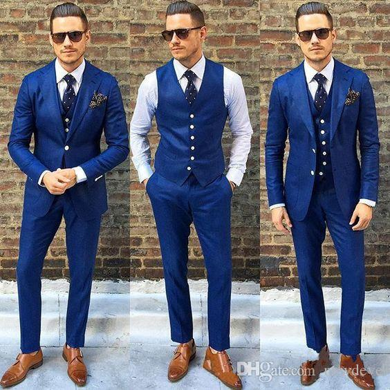 17afb9379c7b 2019 Hot Sales Wedding Tuxedos Royal Blue Groomsmen Tuxedos Best Men's Suit  Groom Wear Men's Formal Prom Suits( Jacket+Pants+Vest)