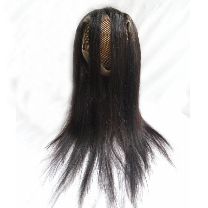 Brazilian Virgin Hair Bundles With 360 Lace Frontal Closure 22.5*4*2 Straight Unprocessed Human Hair Weaves Double Weft Extensions