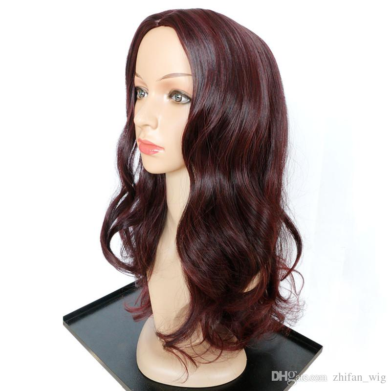 Z&F Long Wigs Sale Red Hair Wigs Curly Hair 20inch Burgundy Wine Red Natural Wave Body Wave