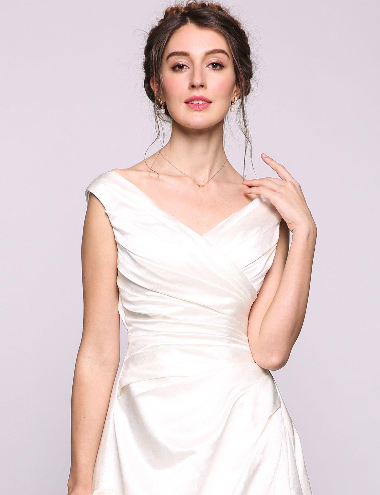 Vestidos de boda casuales de la playa del tamaño extra grande Vestidos de novia de la boda de la mancha de la línea de una línea Vestidos de novia Vestido de la dama de honor con cordones de la longitud del piso de largo