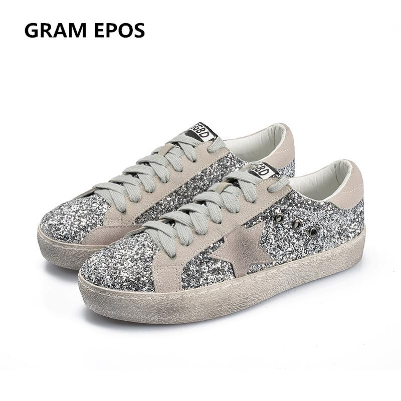 2019 GRAM EPOS 2018 Women Casual Shoes Glitter Leather Do Old Dirty Shoes  Mixed Color Women Sequins Star Golden Fleeces Trainers Sneakers Cheap Shoes  Online ... ded262b0e9c5