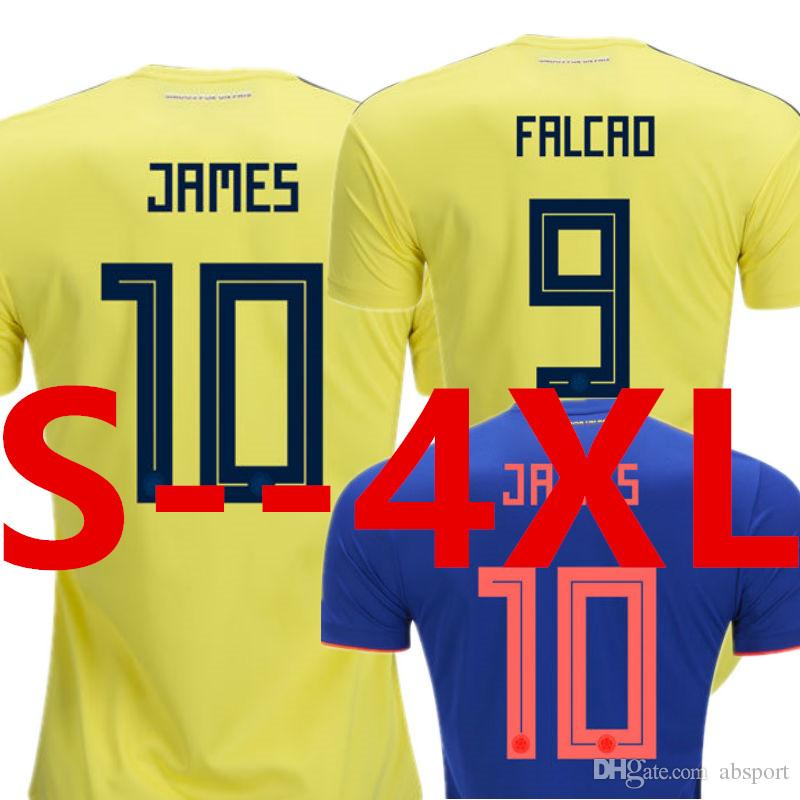 83321f3e4 Soccer Jersey Colombia 2018 World Cup Home Yellow Away Blue JAMES FALCAO  BACCA Mens National Football Shirt Camisetas Futbol Camisa Maillot
