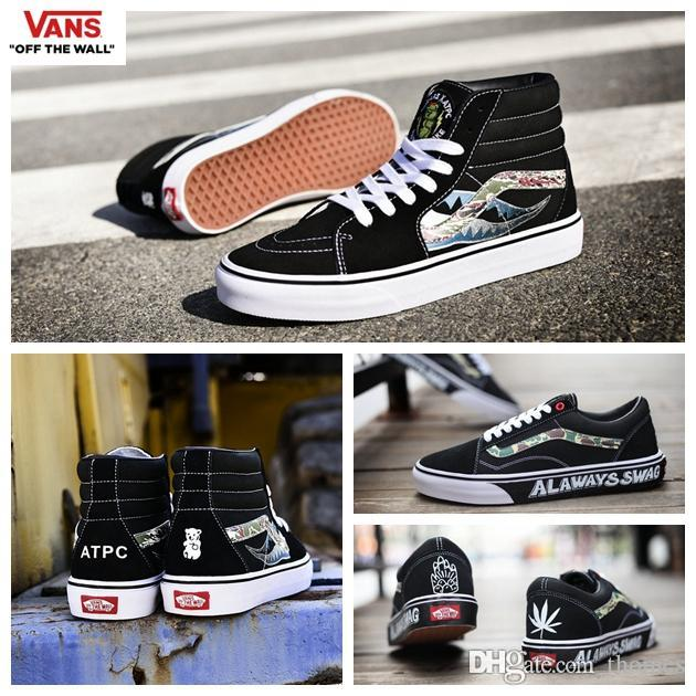 2018 vans x artpeace graphic shoes hightop old skool camo diy custom