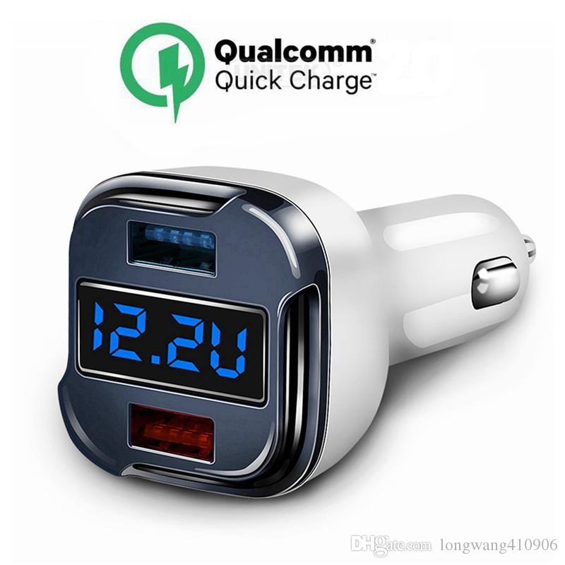 Quick 2.0 phone Car Charger 24W 5A Fast Dual USB Charger Adapter With Voltage Meter Monitor Ammeter Current Tester for iPhone 8
