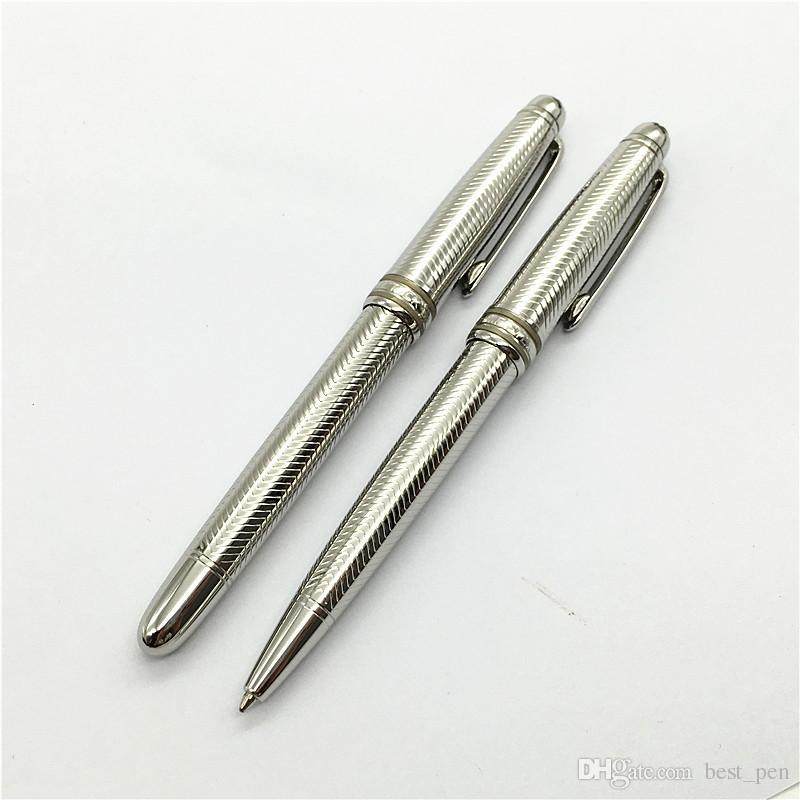 MT 163 Silver metal wave texture Pen Office Accessories School Supplies Material Escolar Mb Pen Ballpoint Roller Ball Pen Luxury