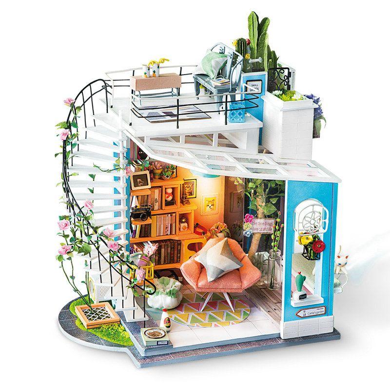 Acheter Robotime Nouveau DIY Dora Loft Avec Meubles Enfants Adulte Miniature  En Bois Poupée Maison Modèle Kits De Construction Dollhouse Jouet DG12 De  ... 591fb5506a19