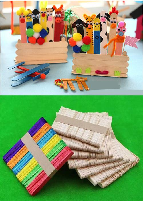 500pcs DIY Original Timber Craft Sticks Popsicle Sticks Ice Cream Sticks Wooden Party Decorations