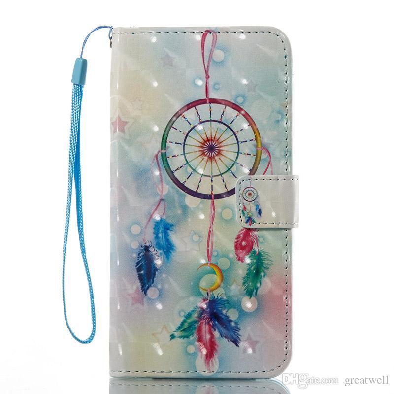 Impreso 3D Flamingos unicornio titular de la tarjeta la carpeta del tirón del cuero del soporte para el iphone XS Max XR 8 7 6 Plus Samsung S8 S9 S10E Plus Nota 8 9