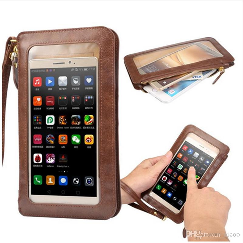 separation shoes 2fa85 aa2c3 View Window PU Leather Wallet Case All-touched Crossbody Handbag Cash Pouch  with strap Universal for iPhone X 8 7 6Plus Samsung S9 OPP