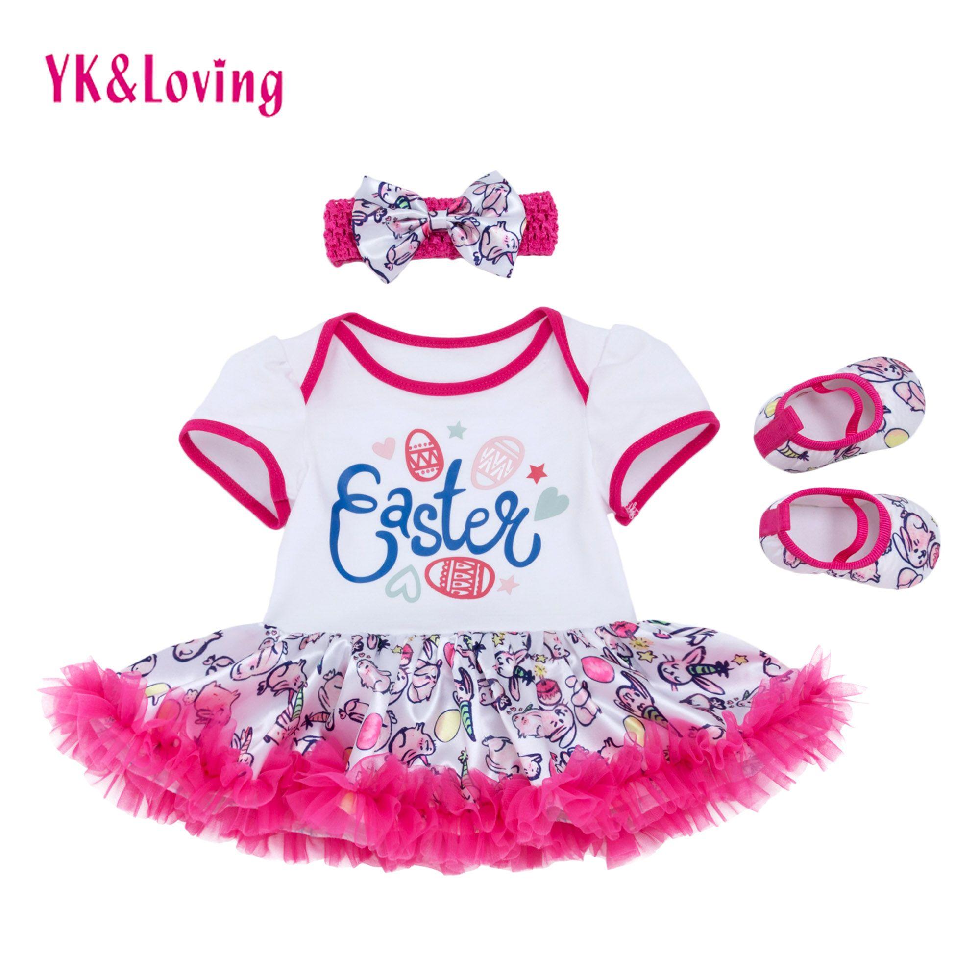 Baby Girls Romper Tutu Dress Easter Print Cotton Short Sleeve Ruffle