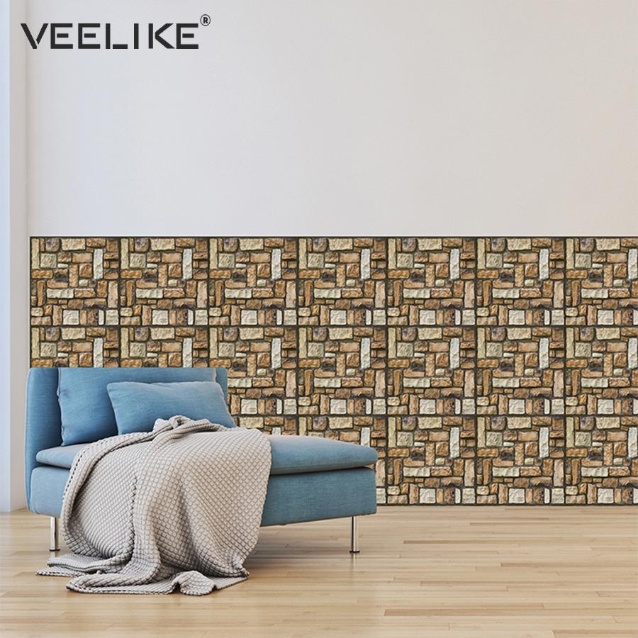 Awesome Vintage 3D Wall Panels Brick Self Adhesive Wallpaper For Kitchen Backsplash Tiles Wall Paper For Bathroom Living Room Home Decor Download Free Architecture Designs Remcamadebymaigaardcom