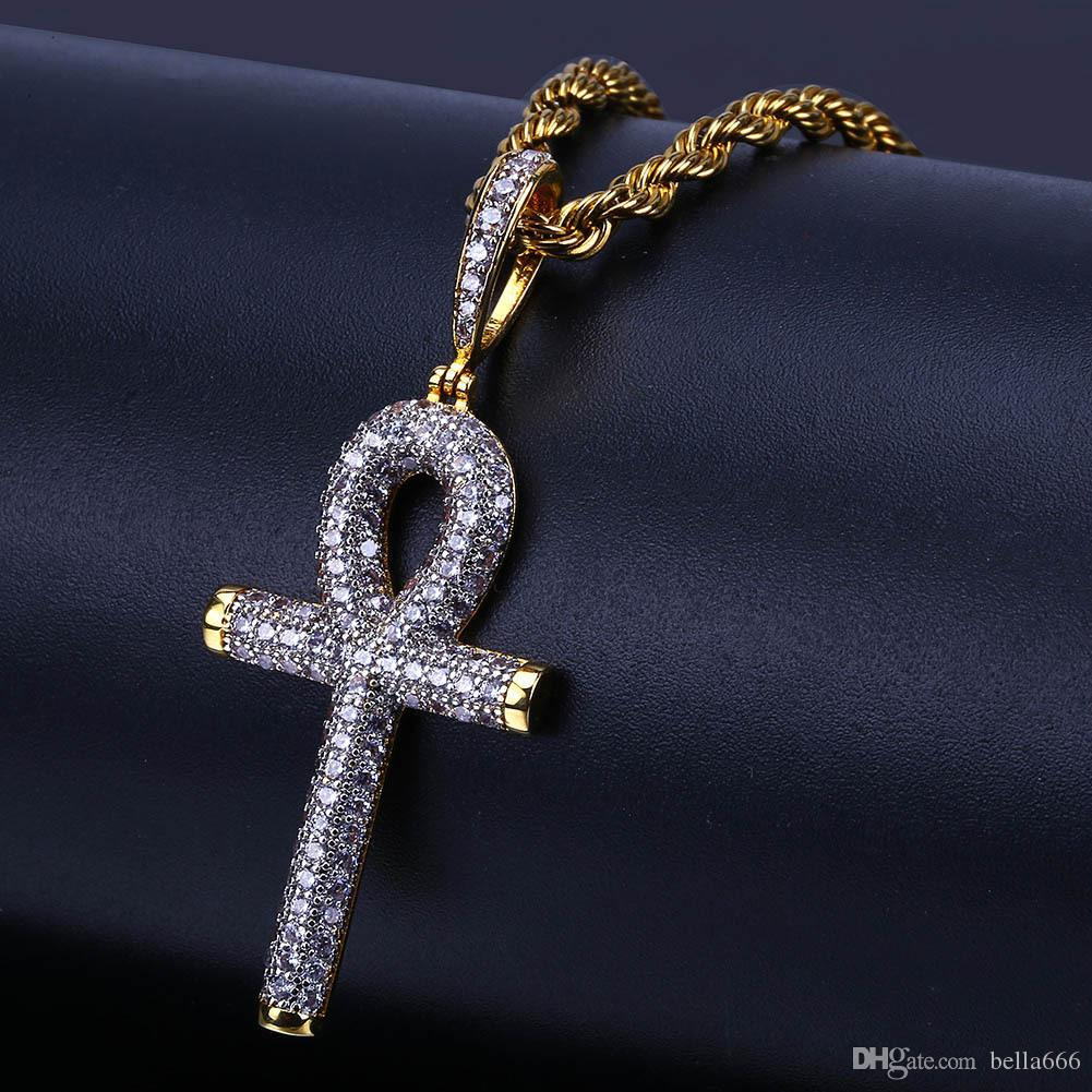 Hiphop Tone Color Egyptian Ankh Key Pendant Necklace Iced Out Cubic Zirconia Stone Necklaces With Rope Chian Crosses Punk Jewelry
