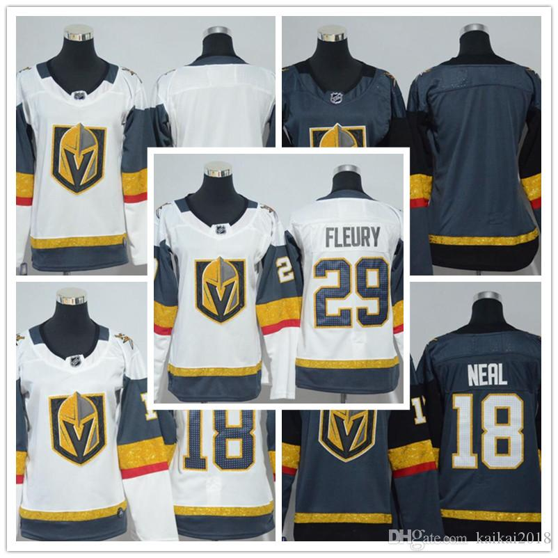 best website e5040 4f09a 2018 Women's Las Vegas Knights 29 Marc-Andre Fleury 18 James Neal Blank  White Black Grey Lady Ice Hockey Jerseys Wholesale Free Shipping