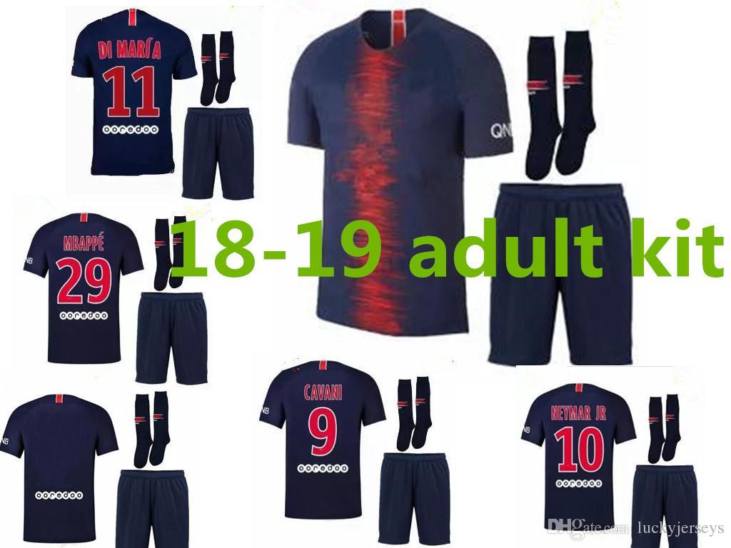 94b1a007d27b 2018 2019 Paris Neymar Jr Adult Kit Soccer Jerseys 18 19 Mbappe Home ...
