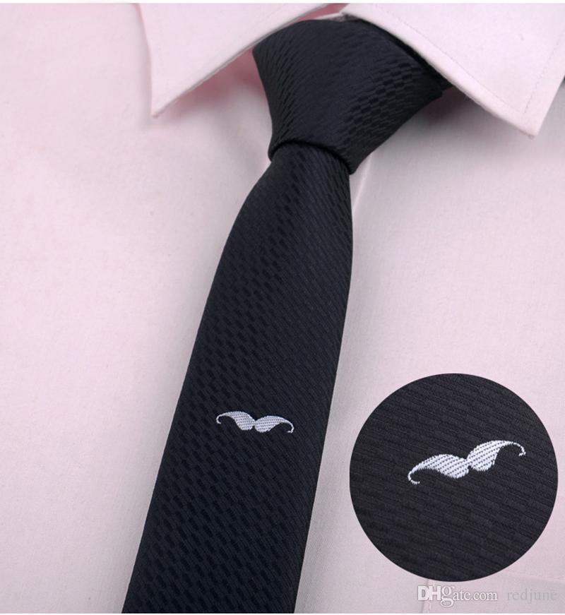 Moda erkek klasik karikatür hayvan Arı kelebek Sakal Süpürge sıska polyester boyun bağları Nakış siyah casual Kravat