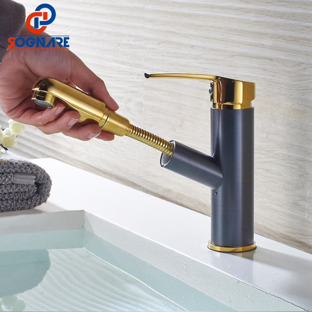 2018 Sognare Bathroom Basin Faucets Pull Out Gold/Black Bath Sink ...