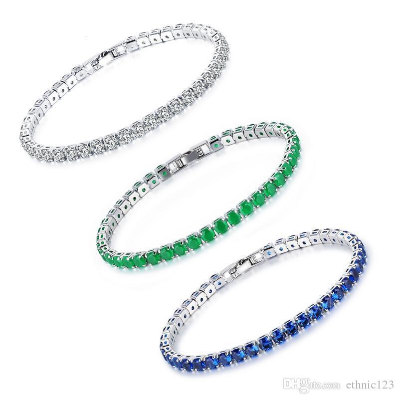887668f8b547 Compre Plata Verde Azul Color De Moda Simple De Las Mujeres De Piedras  Preciosas Pulsera De Circón Brazalete De Acero Inoxidable Pulsera De Regalo  De La ...