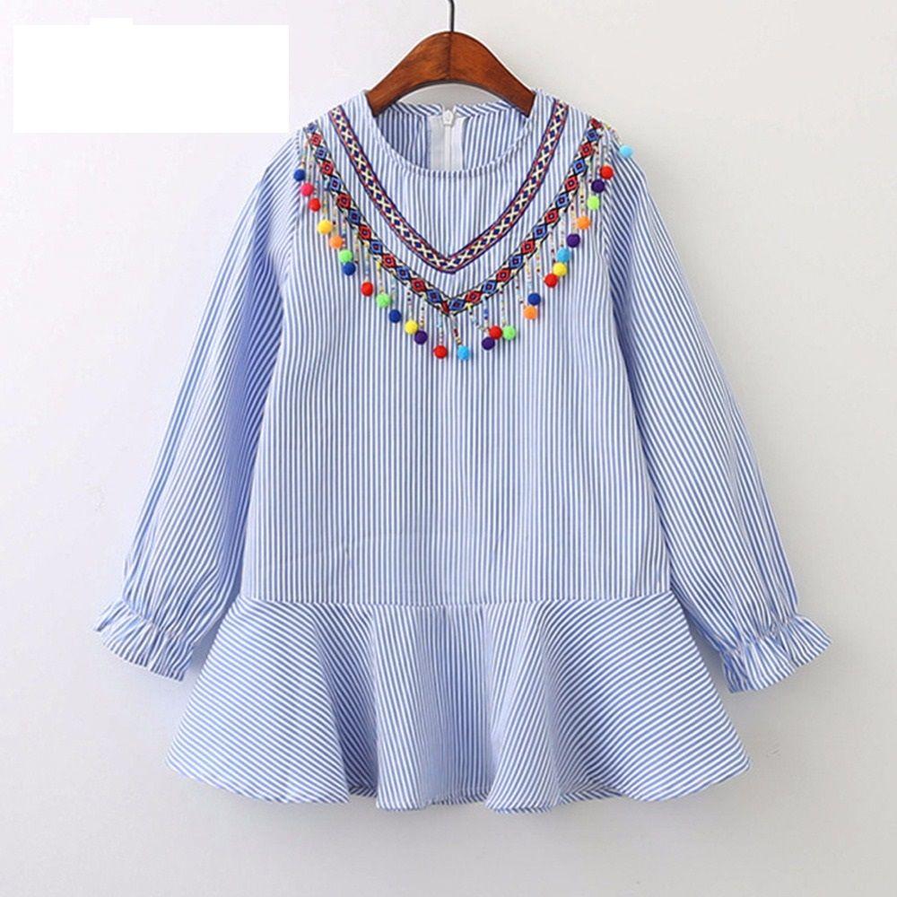 7fe5dc3b5352b 2018 Autumn Girl Dress Cotton Long Sleeve Children Dress Striped Balls  Tassels Kids Dresses for Girls Fashion Girls Clothing