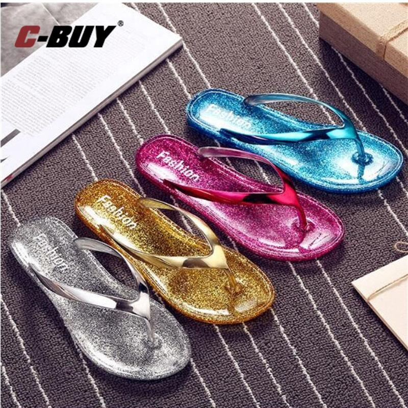 43633be2252 Women Slippers 2017 Casual Transparent Flip Flops Comfortable Bright Powder Shoes  Women Sliver Crystal Flat Slippers Boots Shoes Green Shoes From Clearityy