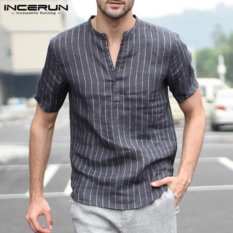 3afb74612d 2019 Mens Striped Short Sleeve Dress Shirts Summer V Neck Button Pullover  Classic White Black Shirt Breathable Cotton Linen INCERUN From  Ladylbdcloth