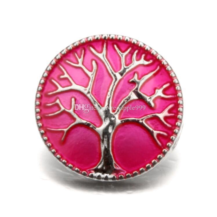 Fashion Tree of Life 18mm bottone a pressione processo di smalto gioielli Noosa pezzi fai da te Ginger Snap Button Charms Bracciale collana